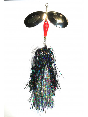 Flashabou bucktail black/silver